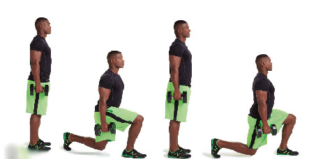 Walking lunges with dumbbells