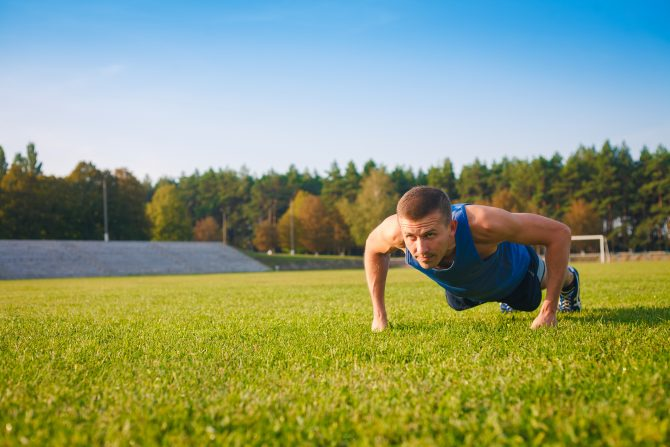 man doing push ups workout